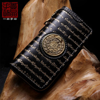 Unisex handmade long Tibetan Sanskrit zipper wallet First layer leather multi card wallet retro personality large capacity clutc