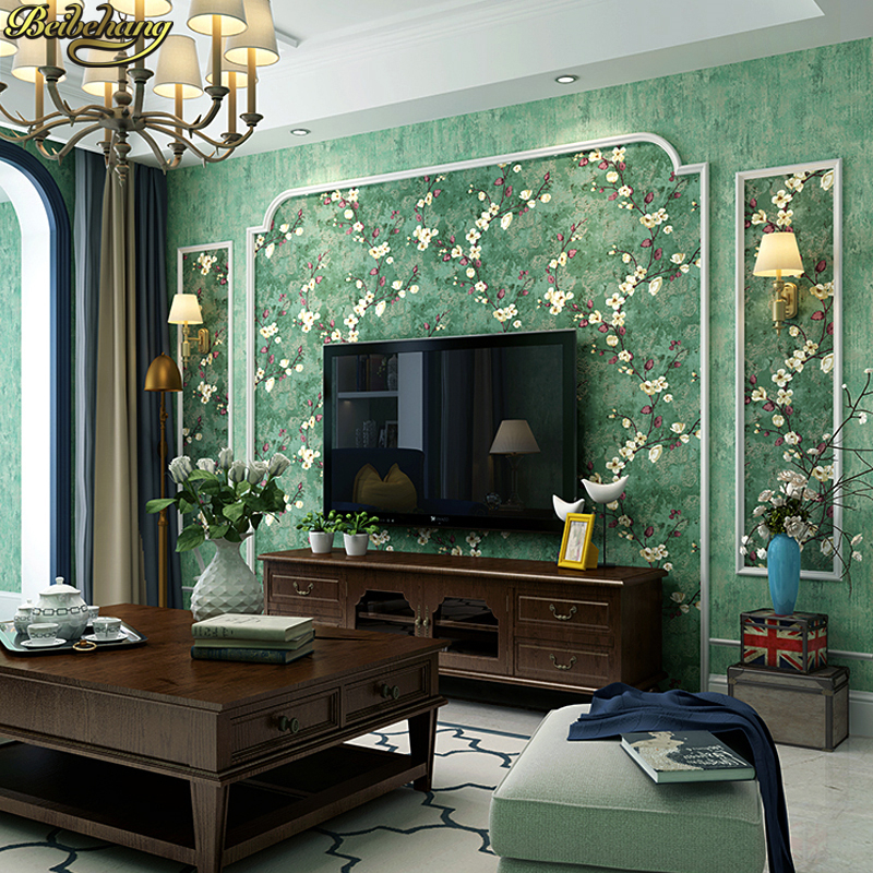 beibehang American pastoral wallpaper retro retro country style dark green living room ab version TV background wall paper free shipping opa2652u opa2652 new sop8 10pcs lot ic