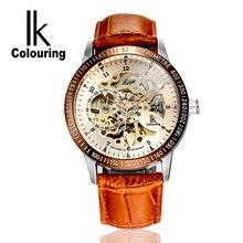 Luxury Mechanical Waterproof Men Watch Brand IK Skeleton Automatic Leather Strap Fashion Casual Wristwatch Relojes Masculine E