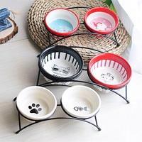 New Double Ceramics Dog Cat Puppy Pet Bowl Fish Paw Santa Print Food Dish Non Slip Food Water Dual use Feeding Dish Pet Supplies