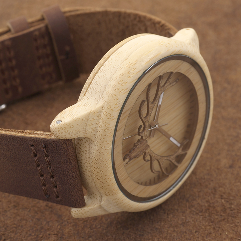 Deer Head Design Hollow Out Bamboo Træ Quartz Watch Med Læder Strap - Mænds ure - Foto 5
