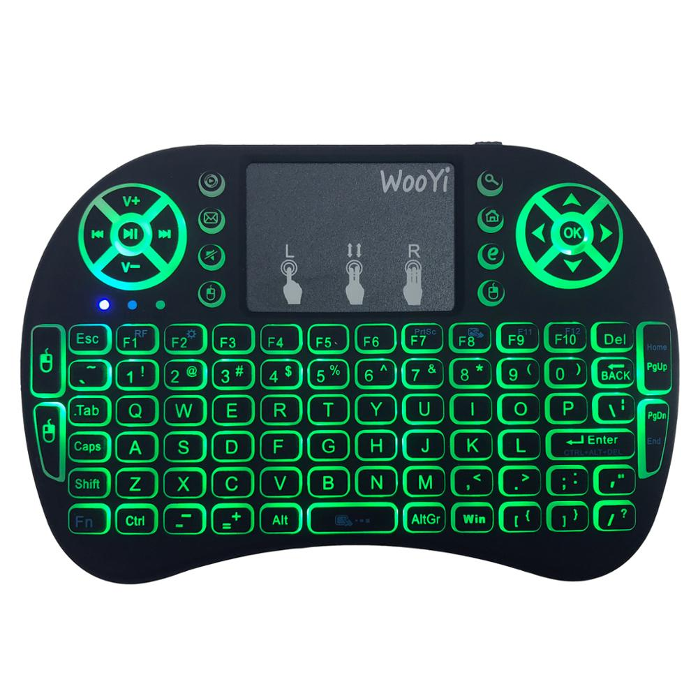 Image 5 - 7 color backlit i8 Mini Wireless Keyboard 2.4ghz English Russian 3 colour Air Mouse with Touchpad Remote Control Android TV Box-in Keyboards from Computer & Office