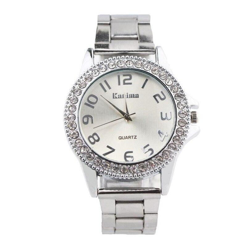 Relogios 2018 New Kanima Mens Women Luxury Crystal Silver Golden Stainless Steel Digital Quartz Watch Hot Sale Erkek Kol Saati