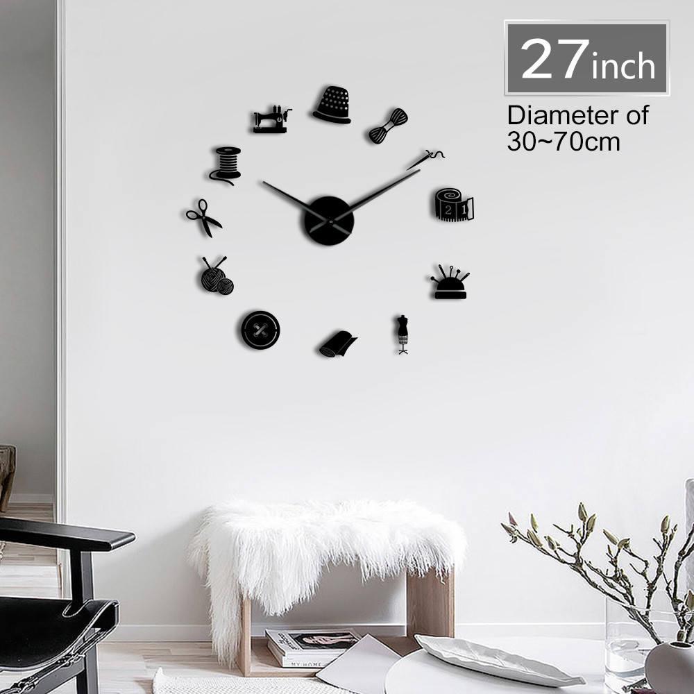 Sewing Instruments Tools Giant DIY Wall Clock Seamstress Designer Mirror Effect Wall Art Room Decor 3D Frameless Clock Watch
