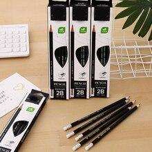 Novel Fashion black Sketch drawing 2B Wooden Lead Pencils Student drawing test pencil writing supplies Office School Pencils set