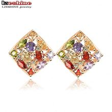 LZESHINE Stud Earing Multicolor Austrian Crystal SWA Elements Earring Gold Plate Square Shape Earrings brincos ouro ER0135-C