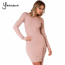 Yanueun 2017 Fashion Women Sweater Full Sleeve Solid Lace Up Dress Slim Casual O Neck Winter Knitted Mini Dress For Ladies