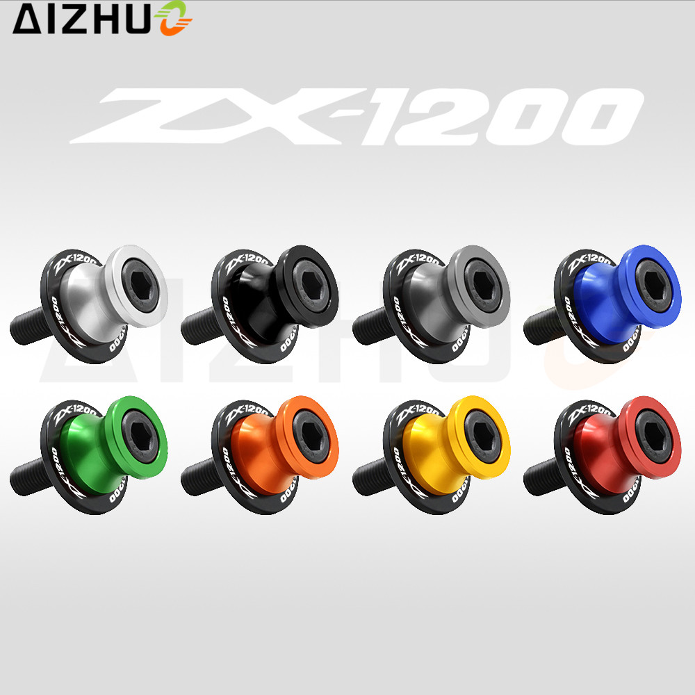 For Kawasaki ZX1200 ZX12R ZX-12R Swingarm Slider Spool Motorcycle Accessories 10Mm CNC Aluminum Autobike Stand Screw ZX1200 LOGO