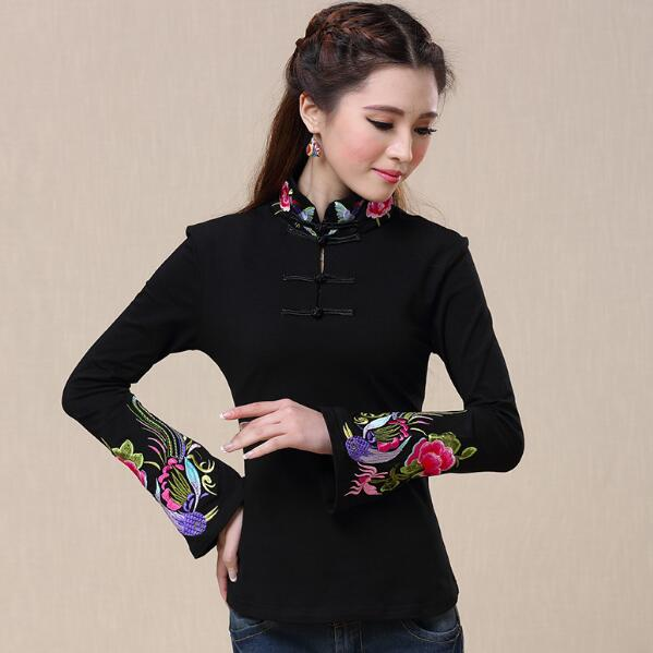 313d2d25de Traditional Chinese clothing 2018 women vintage design mandarin collar long  sleeve white black rose red embroidery shirt AF531-in Blouses & Shirts from  ...