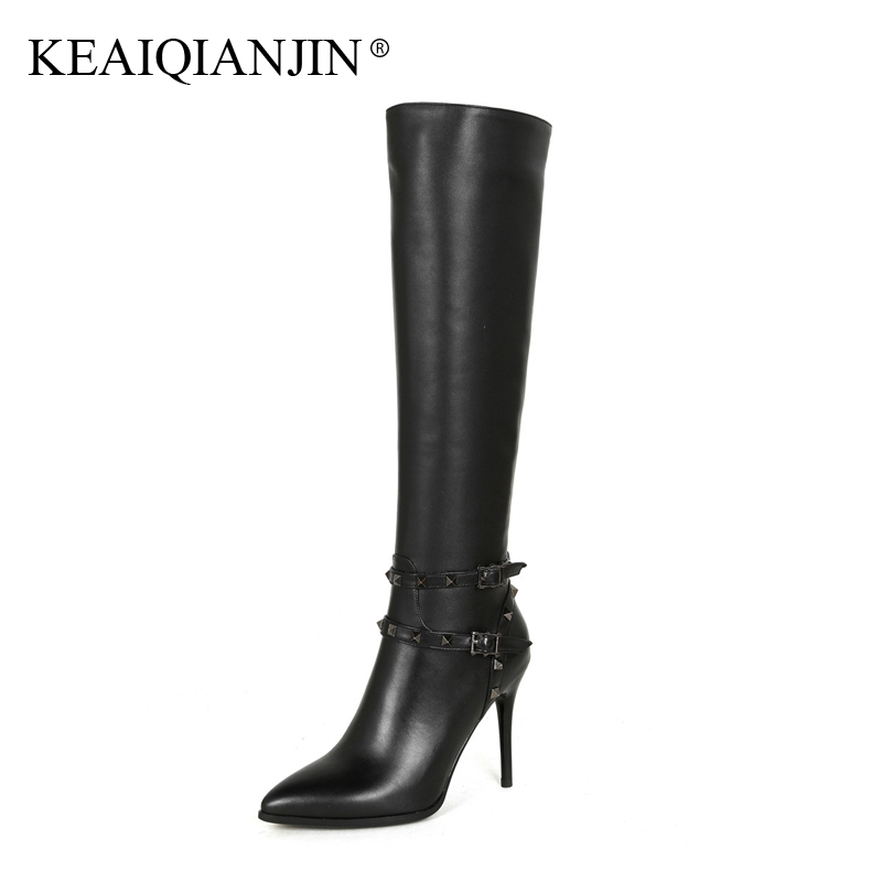 KEAIQIANJIN Woman Genuine Leather High Heel Botas Pointed Toe Winter Rivet Black Shoes Plus Size 33 - 43 Knee High Boots 2017