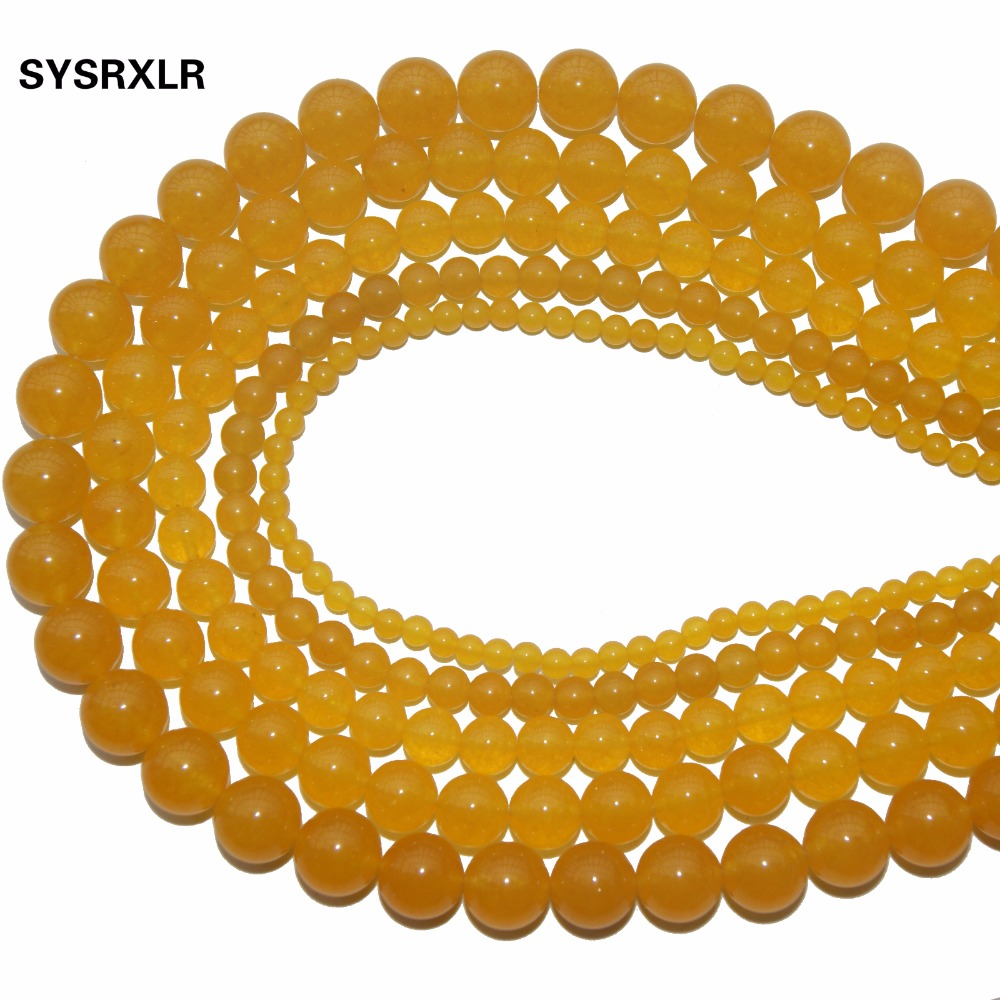 New Diy Bracelet Handmade Yellow Natural Stone Beads For Jewellery Making Crystal Round Shape 4 /6/8/10/12 MM Strand 15