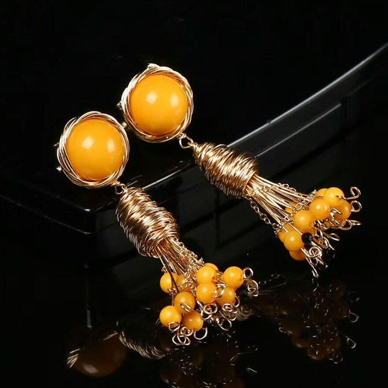 Boucles d'oreilles RADHORS véritable 925 argent Sterling incrusté 100% ambre naturel 14 K doré boucles d'oreilles pour femmes bijoux de style luxueux