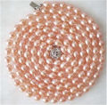 "Beautiful new fashion  Rice Shape Pink Akoya Cultured Pearl Necklace 50""Jewelry making Design Wholesale and retail"