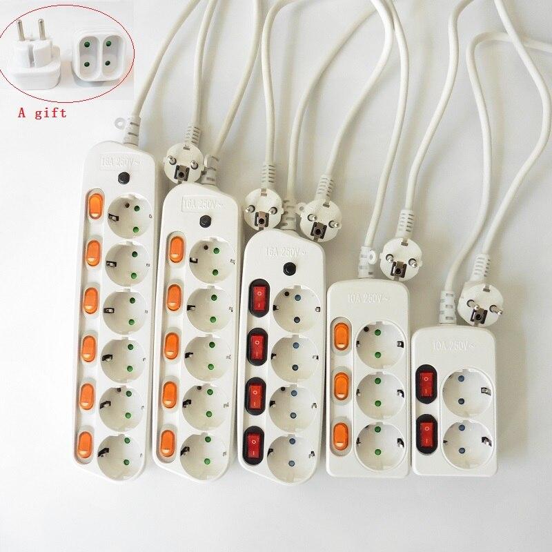 New EU FC Electrical Socket pdu Surge Protection 10 16A European Euro adapter Power Strip 4