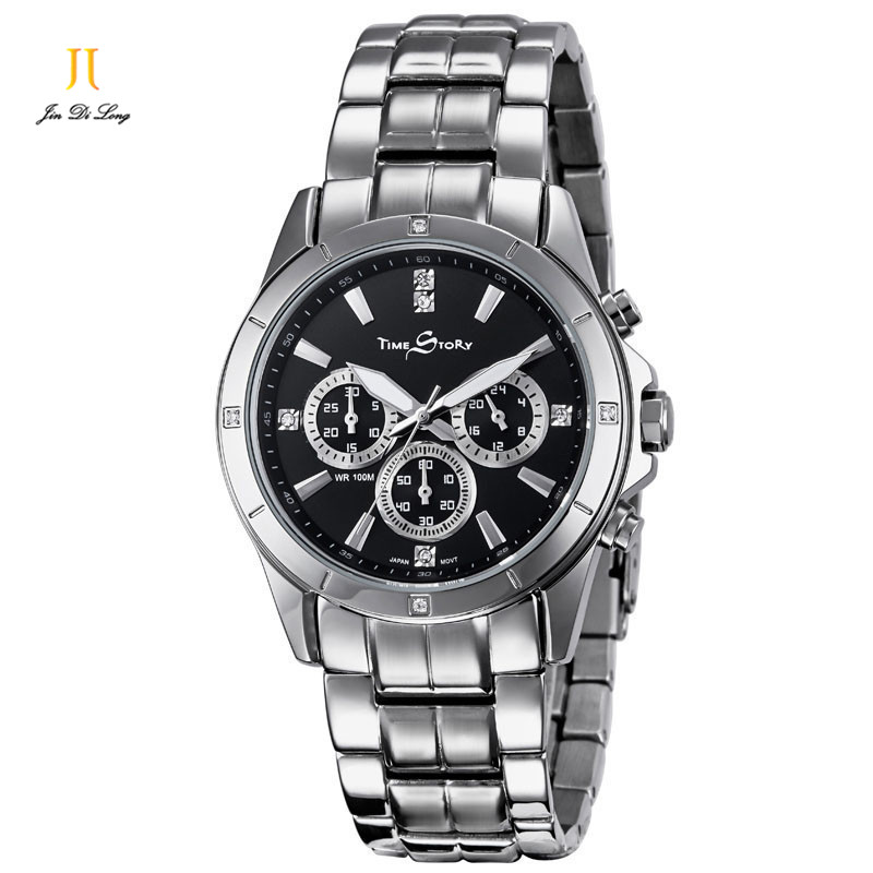 2 *#Luxury Fashion Business Casual Watch Men Quartz Diamond Wrist Watches Stainless Steel Luminous Calendar Waterproof 100M sharp ar205dm