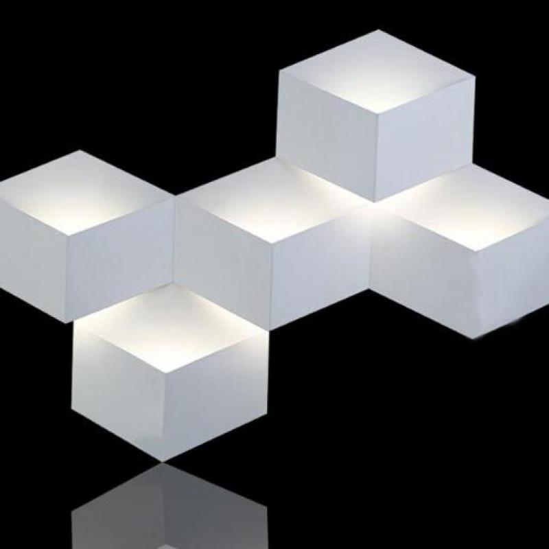 5 Heads 15w Magic Led Wall Light Aluminum Stereo Rhombus Ice Cube 3d Wall Lamp Geometric Square Grid Box Indoor Lighting 1823