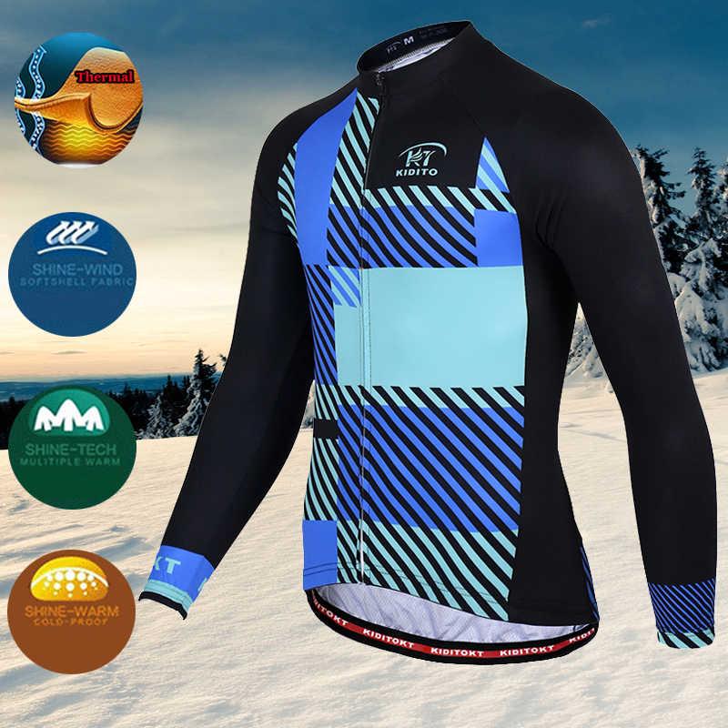 KIDITOKT الشتاء الحراري الصوف الدراجات جيرسي مجموعة برو الدراجات الملابس دراجة هوائية جبلية ارتداء سباق دراجة مايوه ciclismo hombre