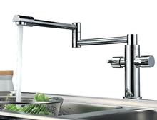 Бесплатная доставка двойной ручкой Pull Раскладной кухонный кран поворотный кран раковины горячей и холодной водой torneira BF033
