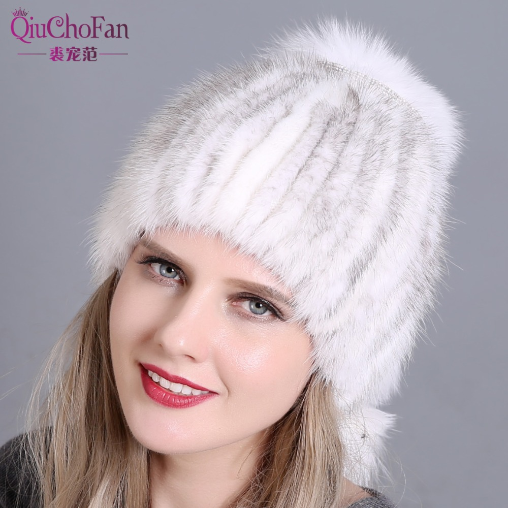 Women's Bomber Hats New Fashion Style Hat Real Natural Mink Fur Hat With Fox Hair Stitched On A Cotton Cloth To Form A Ponytail With A Fox Fur Ball Attractive Appearance