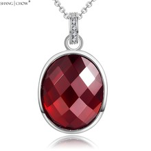 2017 Winter Fashion Jewelry Oval Sharp Garnet Stone 925 Sterling Silver Pendant for women evening party