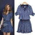 Mulheres dress moda verão da cópia floral manga curta mini dress com decote em v vestidos casuais