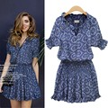 Women Dress Fashion Summer Floral Print Short Sleeve Mini Dress V-neck Casual Dresses