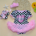 4pcs/lot Real 2016 Baby Romper Girl Suits Headband 3piece Set Infant Clothing Sets;1st Birthday Outfits Lovely Princess Dress
