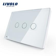 Livolo стандарт США стены Сенсорный экран Управление переключатель, 3-gang 1way, AC 110~ 220 V, белый, с украшением в виде кристаллов Стекло Панель, VL-C303-81