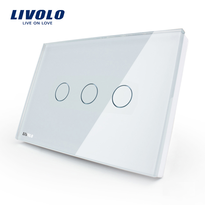 Livolo US standard Wall Touch Screen Control Switch, 3-gang 1way, AC 110~220V , White Crystal Glass Panel, VL-C303-81 smart home us au wall touch switch white crystal glass panel 1 gang 1 way power light wall touch switch used for led waterproof