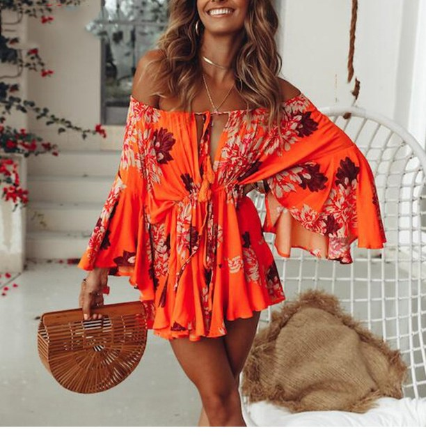 2019 Women Off Shoulder Boho Palysuit Floral Beach Summer Short Jumpsuit Flare Sleeve Sexy Casual Romper