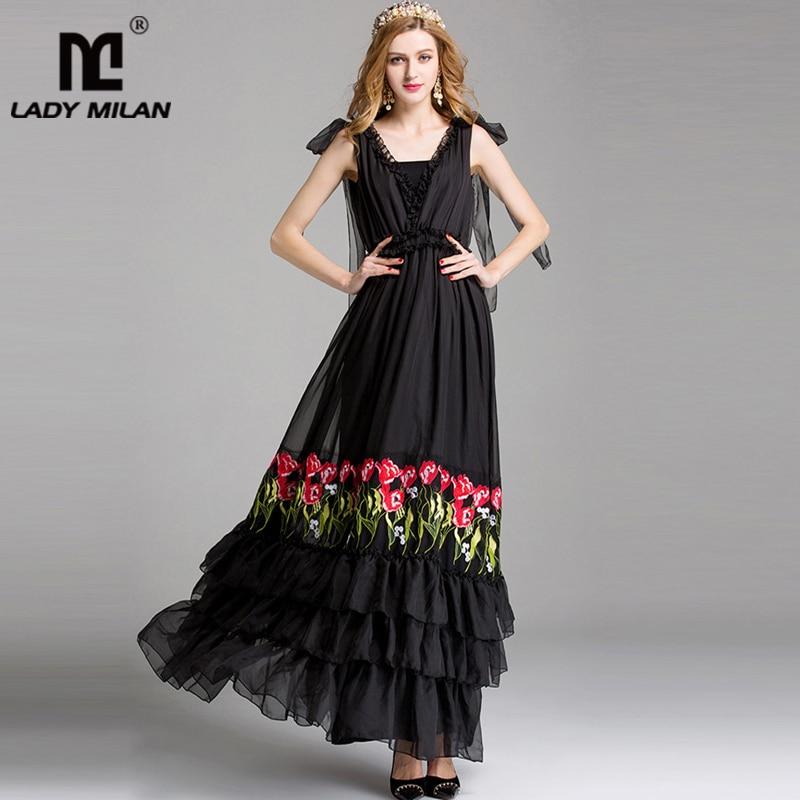 Lady Milan Women s Runway Designer Sexy V Neck Sleeveless Embroiery Party Prom Ruffles Fashion Long
