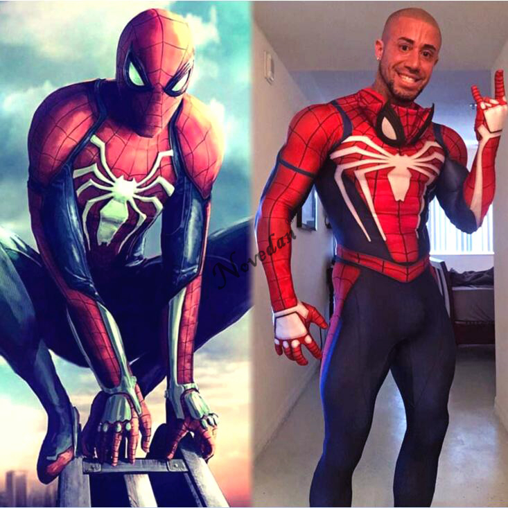 Ps4 Insomniac Spiderman Costume 3D Print Spandex Games Spidey Cosplay Halloween Spider Man Costumes For Adult Kids