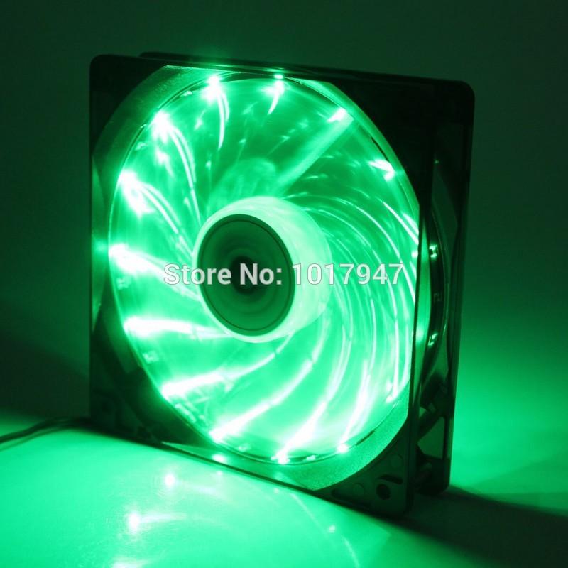 1PCS 4Pin Cooling CPU Heatsink Fans 15 LED Green Light for Computer PC Case 120 x 25mm