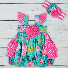 Sibling Girl Pink flower dress outfits