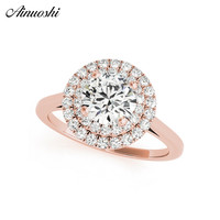 AINUOSHI 925 Sterling Silver Rose Gold Color Round Cut 1ct Halo Bridal Rings Women Engagement Silver Ring Wedding Jewelry Gifts