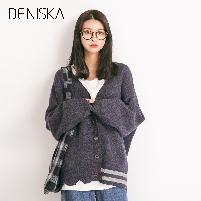 DENISKA Cardigan Women Medium-long Solid Color Single-breasted Button Long Sleeve Knitted Outerwear Female Tricot Sweaters Tops