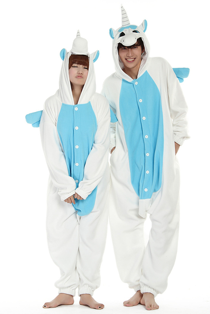 2016 New Polar Fleece Unicorn Onesies Costume Cosplay Pajama Couple Animal Sleepwear Pyjamas Halloween For