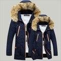 Estilo ruso de Alta Calidad Chaqueta de Invierno Hombres de la Marca 2016 Warm Coat Espesar Con Capucha De Piel de Algodón Acolchado Parkas Moda 3 Colores