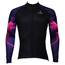 2016 nueva púrpura Aurora patrón Mens Long Sleeve Cycling Jersey de poliéster transpirable Ropa Ciclismo