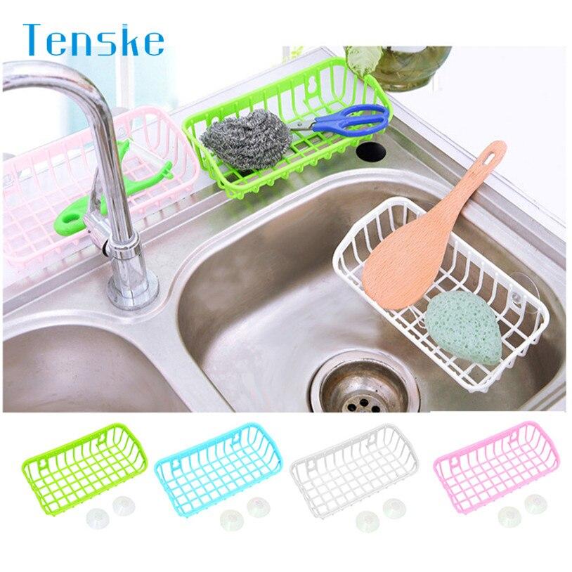 Tenske Titular de Almacenamiento De Doble Ventosa Cocina baño Estante estante Es