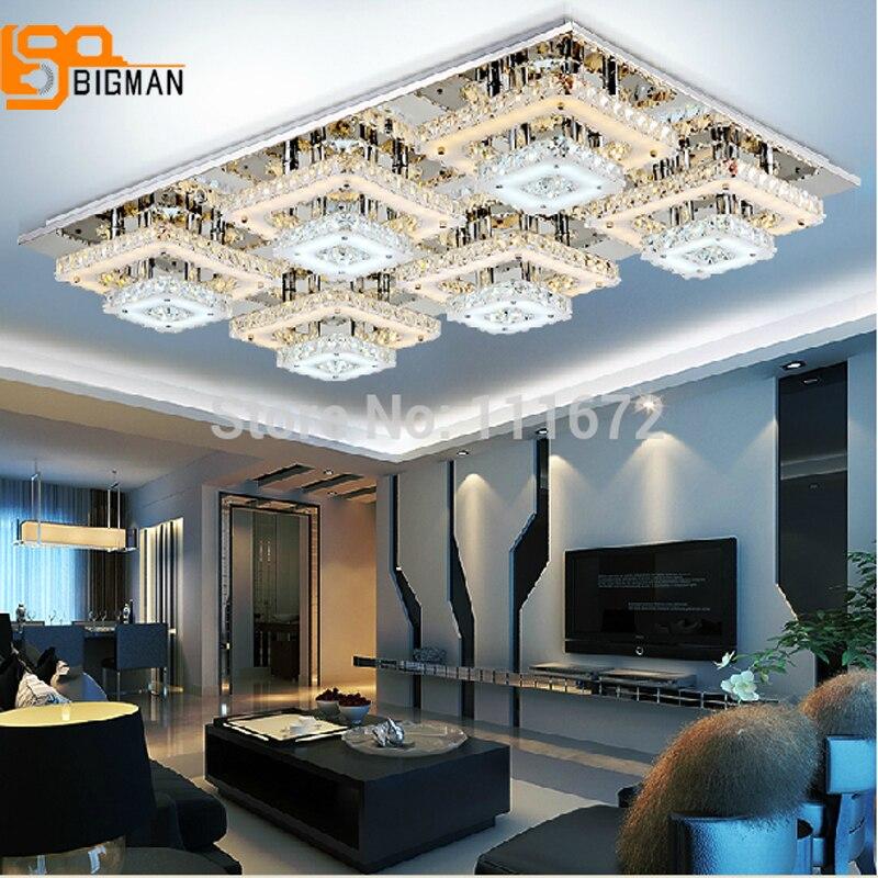 Promotion des ventes nouveau cristal LED lustre salon luminaires en cristal 2 couches blanc chaud + blanc moderne lampe