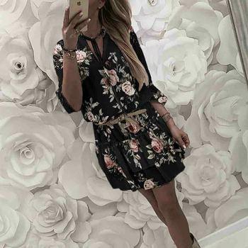 Винтажное женское летнее платье с запахом, V-образным вырезом, цветочным принтом в стиле бохо, элегантный женский праздничный пляжный мини-сарафан 2