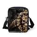 Moda 3D crânio estilo Punk meninos bolsa de ombro do Vintage mensageiro sacos de Cross corpo dos homens saco de viagem bolsa