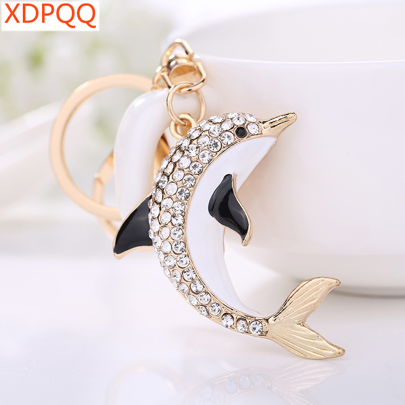XDPQQ2018 fashion jewelry key chain key ring female car pendant popular jewelry new dolphin animal rhinestone drop oil