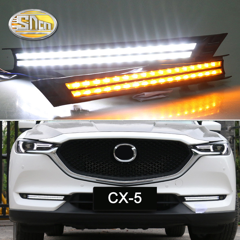 For Mazda CX-5 CX5 2017 2018 2019 Dynamic Turn Signal Relay Waterproof Car DRL 12V LED Daytime Running Light Fog Lamp Decoration