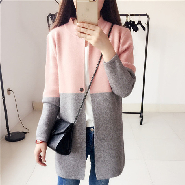 Hot Patchwork Women Long Sleeve Cardigan Korean Style Knitted Sweater Female Pink Knitwear Sexy Ladies Knitting Coat Pull Femme