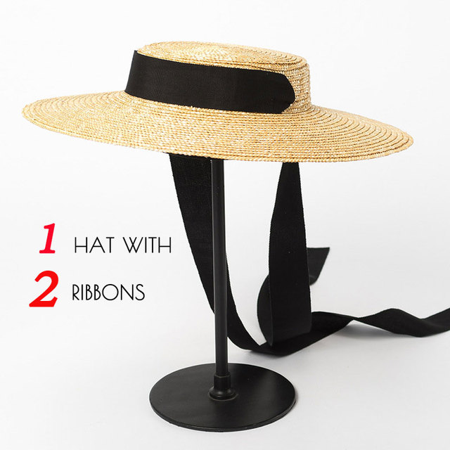Boater Hat Summer Beach Sun Hat for Women 2018 Ladies Wheat Straw Hat with Ribbon Ties
