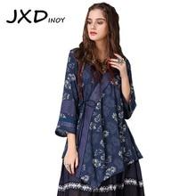JXDINOY Women Blouse 2018 New Cotton  Blusas  V-Neck Floral Print Drawstring Asymmetrical Women's Vintage Indie Folk style Shirt