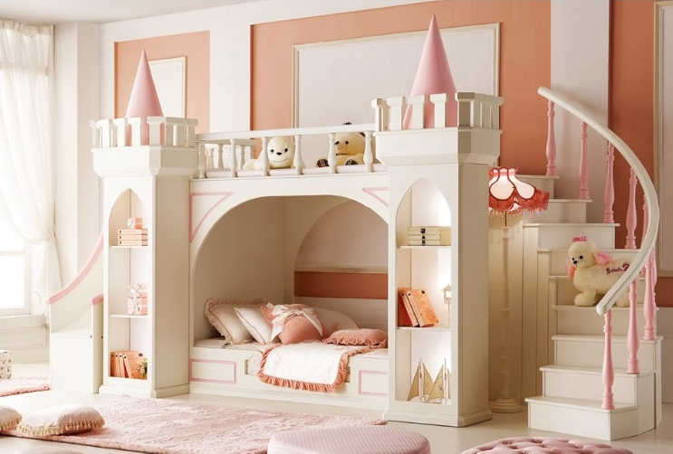 Upscale Princess Mother Bunk Beds With Ladder Cabinet Slides Cheap