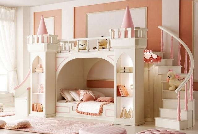 upscale prinses moeder stapelbedden met ladder kast slides goedkope kasteel bed houten bed kinderen slaapkamer meubels
